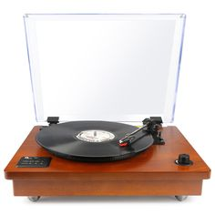 Bluetooth USB Turntable Vintage Record Player Vinyl-to MP3 Nature Wood, Brown  | eBay