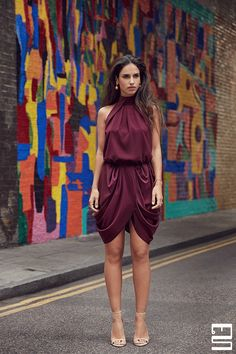 The classy burgundy midi cocktail dress by designer Monique Singh combines elegant modern features with artisanal Indian draping techniques. Autumn Fashion Work, Spring Fashion Casual, Fall Fashion Trends, Fashion Wear, Fashion Outfits, Fashion Blogs, Fall Dresses, Fall Outfits, Cute Outfits
