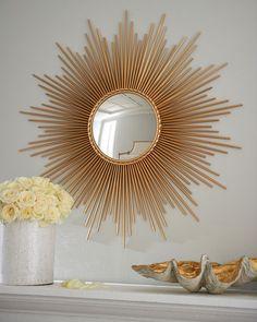 """Thin Sunray"" Mirror by Global Views at Horchow. Round, sunburst mirror in Gold Sun Mirror, Floor Mirror, Rose Gold Mirror, Plafond Design, Starburst Mirror, Boho Home, Brick Fireplace, Handmade Home, Home Furnishings"
