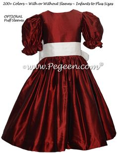 Flower Girl Dress in Claret Red Silk with an antique white silk sash Red Flower Girl Dresses, Girls Dresses, Red Silk, White Silk, Custom Dresses, Sash, Two Piece Skirt Set, Couture, Antique