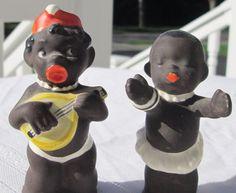 Vintage Goebel Black Americana Salt & Pepper Shakers Germany 3+ Inches Tall #1