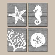 Beach BATHROOM Wall Art, CANVAS or Prints, Nautical Coastal Bathroom Decor, Aqua Starfish Seahorse, Coral Reef, Wood Plank Design, Set of 4