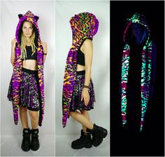 Furry neon Leopard hoodedscarf glowing under blacklight  #raver #scoodie #hoodedscarf #neon #blacklight #uvactive #psytrance #buffalos #glitterskirt #90sfashion #handmade