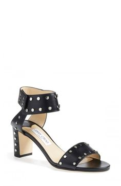 f212c87eda1f These are women s black leather studded sandals from Jimmy Choo