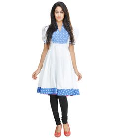 A traditional powerhouse that packs a punch, sounds like our edit of casual summer kurtis. These ethnic numbers go well with leggings or denims. From bright summer hues to ice-cream colors, these kurtis spell elegance and accentuate your curvaceous figure. So, come take a look at our rich designs and prints and take your pick. We guarantee you'll still be turning heads in this Indian attire.BRAND: Paislei CATEGORY: KurtiCOLOUR: White and BlueMATERIAL: Cotton