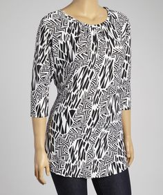 Another great find on #zulily! Black & White Geometric Pleated Scoop Neck Top - Plus #zulilyfinds