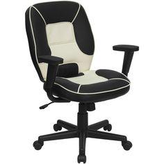 Flash Furniture Mid-Back Black and Cream Vinyl Steno Executive Swivel Office Chair [BT-2922-BK-GG]