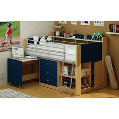 Charleston Loft Bed with Desk, Navy and Natural.  Cool bed for Nick, but I would want to somehow reconfigure the desk into a roll-out hamper.