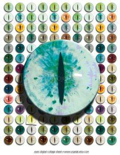 Eyes No 8 Animal  14mm Circles Digital Collage Sheet by Yojetak, $2.99
