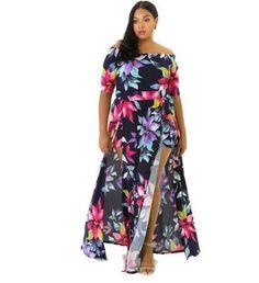 Digital Printing Kick Pleat Long Dress