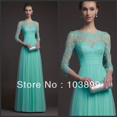 Fabulous A-line Empire Waist Scoop Neck Mint Green Tulle Long Prom Gowns with Sleeves Lace 2014 $119.00