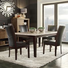 Bring Contemporary Elegance To Your Dining Area With This Sonata Dining  Room Set, Featuring A Dark Brown Wood Table With A Light Marble Top.