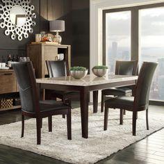 Sonata Black-brown Marble 5-piece Dining Set