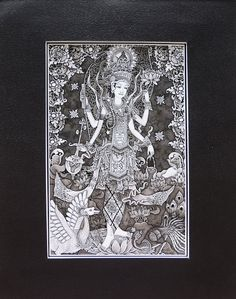 Purchased from a local artist in Bali, this is a stunningly intricate painting of the Hindu goddess Saraswati. Saraswati is the goddess of knowledge, music, arts and science. According to Hinduism, it was with Saraswati's knowledge that Brahma created the universe. Makes the perfect gift for any teacher or scholar.