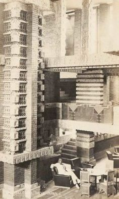 Imperial Hotel. Frank Lloyd Wright. Tokyo 1916. Period photo. Art Deco Home, Imperial Hotel, Usonian House, Frank Lloyd Wright Buildings, Art And Architecture, Ennis House, Blue Lantern, Lamp Ideas, Boxer
