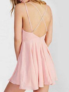 Pink Deep V-neck Strappy Backless Chiffon Skater Dress