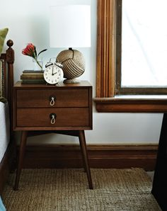 Bedside Table Vignette with Dark Wood Accents & Trim | photo Angus Fergusson | House & Home