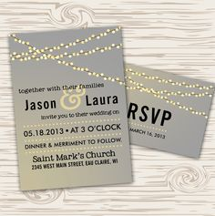 Fairy lights wedding invite