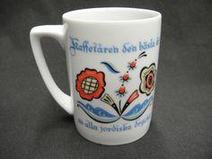 Berggren  Folk Art Porcelain Coffee Mug Swedish Saying Rosemaling Vintage