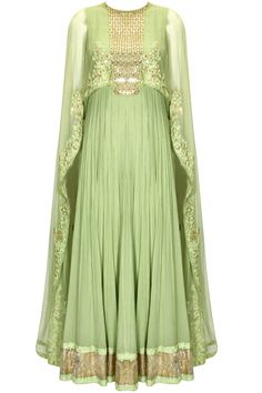 Mint floral embroidered cape anarkali set by Ridhi Mehra.  Shop now: www.perniaspopupshop/designers/ridhi-mehra #shopnow #ridhimehra #perniaspopupshop