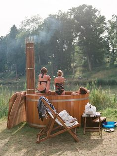 this might be a fun alternative for a hot tub at the lake