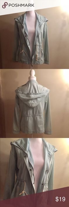 Jacket Lightweight Denim Anorak Jacket •size small •adjustable waistline •pockets, zipper and buttons on front •hood  Only worn twice, great condition 🍃🌿 Jackets & Coats