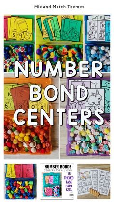 Number Bond Centers for hands-on practice ALL year! Use these math task cards, sorting mats, and recording pages to create math sensory bins for hands-on number bond practice during Guided Math… More