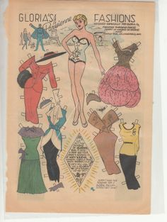 Gloria paper doll from Katy Keene / eBay * 1500 free paper dolls for other Pinterest paper doll pals at Arielle Gabriel's The International Paper Doll Society *