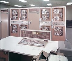 Formica®: An office with an old computer set-up from 1960, U.S.