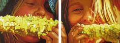 "Sweet Corn, diptych 18"" X 48"", oil on canvas, original art is sold"