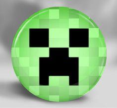 Minecraft Birthday Party Favors - Pocket Mirror or Magnet - Minecraft Creeper. $3.00, via Etsy.