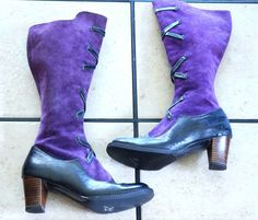 ALPINE PURPLE / NAVY BLUE SUEDE and LEATHER CRISS CROSS BOOTS ~ AMAZING in all but heel and tiny size