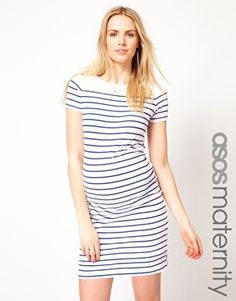 ASOS Maternity Exclusive Dress In Cotton Breton Stripe With Short Sleeve
