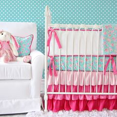 Caden Lane Baby Bedding - tiny flowers and layers of ruffles - does it get any better? LOVE pink and aqua in the nursery!!!