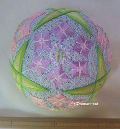 てまり 「紫陽花」8つ花 水色地桃紫 手まり 手毬 手鞠|その他インテリア雑貨|てまり - ねこ|ハンドメイド通販・販売のCreema