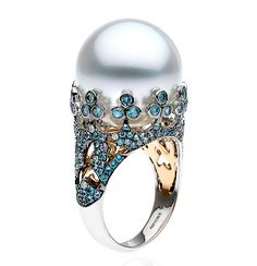Venezia Collection | Autore Pearls. A ring in white and rose gold with South Sea Pearl, aquamarines, Paraiba tourmaline and diamonds.