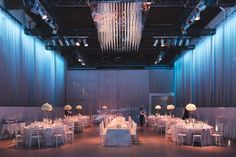 Check out our Liberty Grand Artifacts Room Wedding. Planned by Fusion Events. Bling Wedding, All White, Modern Decor, Liberty, Wedding Planning, Layout, Ceiling Lights, Table Decorations, Room