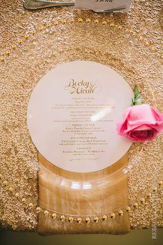 Kauai, Hawaii Wedding table setting. Pink and gold wedding decor and flowers. Glitter. Modern Pacific Weddings. Photo by Rebecca Arthurs