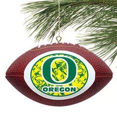 Oregon Ducks Replica Football Ornament - Green/Yellow