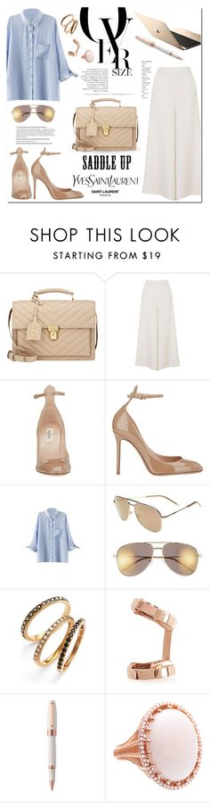 """""""YSL Saddle Bag"""" by stellaasteria ❤ liked on Polyvore featuring Yves Saint Laurent, Topshop, Valentino, Judith Jack, Repossi, Montegrappa, Roule & Company, valentino, topshop and oasap"""