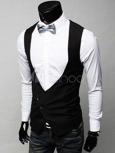 24.99  Grace Black Satin Sleeveless V-neck Men s Vest Mens Suit Vest 346950fa5