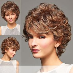 Henry Margu (Bailey) – Synthetic Full Wig - New Site Short Permed Hair, Curly Hair Cuts, Short Curly Hair, Curly Hair Styles, Short Shag Hairstyles, Permed Hairstyles, Feathered Hairstyles, Short Hair With Layers, Short Hair Cuts For Women