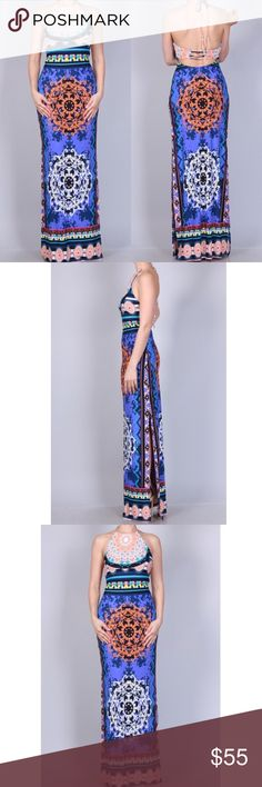 Blue Printed Maxi Dress HALF LINED 95% POLYESTER 5% SPANDEX Ships out in 7 days.   ------------------------------------  Let's keep in touch ❤️  Instagram: @lanier_boutique Facebook : Lanier Boutique  Twitter: @lanierboutique Snapchat: lanierboutique Dresses Maxi