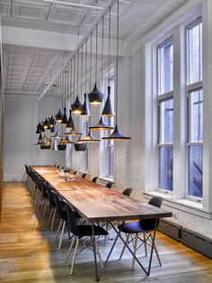 Cool office Lighting - Tom Dixon pendants fit in with the cool style of the smart office lighting design moderndesign i. Office Nyc, Loft Office, Smart Office, Office Lounge, Office Walls, Office Chairs, Lawyer Office, Basement Office, Ikea Office
