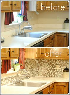 Remove laminate counter backsplash and replace with tile backsplash. I have been wanting to do this!