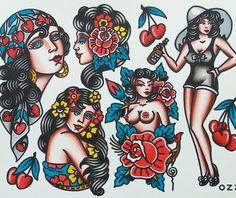 Trendy Tattoo Old School Girl Rockabilly Tat 39 Ideas Retro Tattoos, Old Tattoos, Pin Up Tattoos, Trendy Tattoos, Girl Tattoos, Sleeve Tattoos, Traditional Tattoo Design, Traditional Tattoo Flash, Rockabilly Art