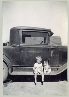Sweet friends. It kind of looks like it's from the Dustbowl years of the Great Depression though... Hopefully this little team was on their way to a pretty good place though (one of those govm't camps? One can wish...), and at least they had a car!