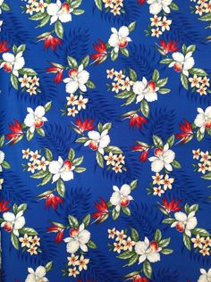 Retro and vintage styled Hawaiian fabric. 100% Cotton available from http://www.lazyisland.co.uk/