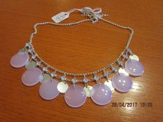 brand new small silver/clear glass beads baby pink glass disc's chain necklace.