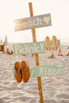 beach picnic wedding sign